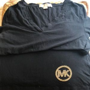 Michael Kors black vneck gold crystal detail L